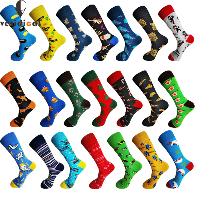 10pairs/lot Brand Quality Mens Socks Combed Cotton Colorful Happy Funny Sock Autumn Winter Warm Casual Long Men Compression Sock