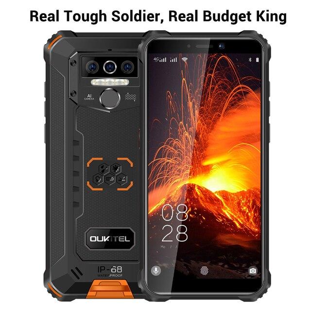 Oukitel wp5 pro ip68 à prova dip68 água smartphone 8000mah android 10 triplo rosto da câmera/impressão digital id 5.5 polegadas 4gb 64gb telefone móvel 5