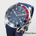 BLIGER Mechanische Männer Uhren Fashional Sapphire Glas Blau Zifferblatt 41mm Runde Armbanduhr Rubber Strap DG 2813 Bewegung-in Mechanische Uhren aus Uhren bei