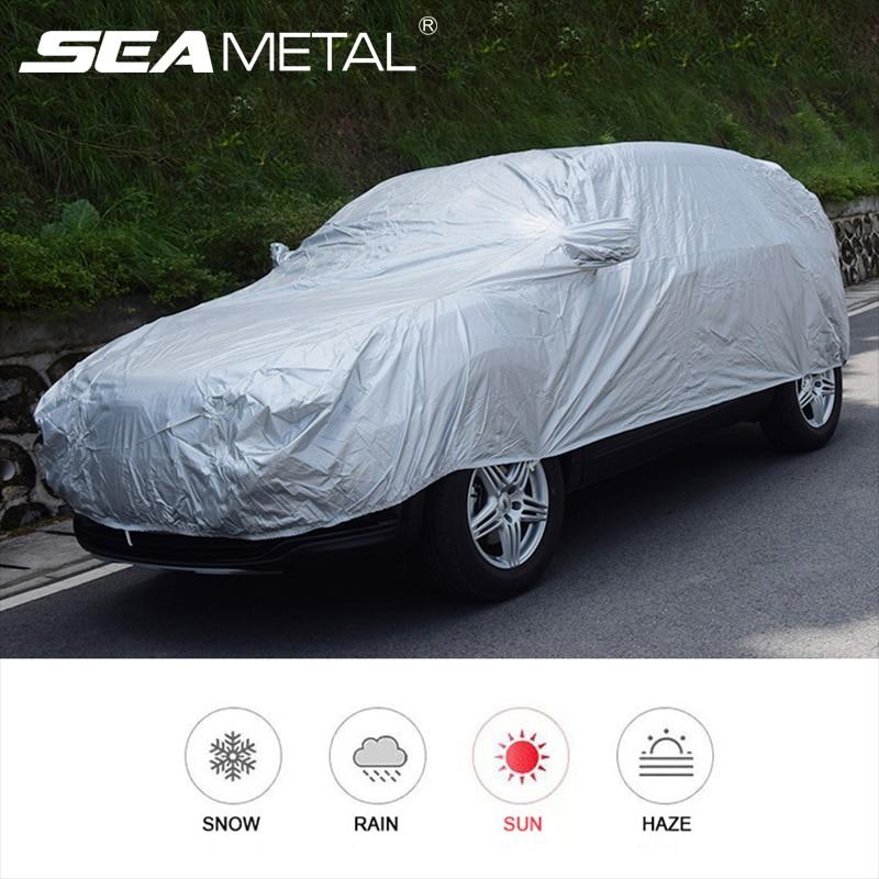 Interior Mobil Cover Luar Ruangan Perlindungan Penuh Selimut Mobil Salju Kerai Tahan Air Tahan Debu Universal untuk Hatchback Sedan Suv title=