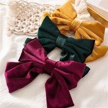 Женская бархатная заколка для волос, однотонная заколка-Пряжка, аксессуар для волос, 1 шт.