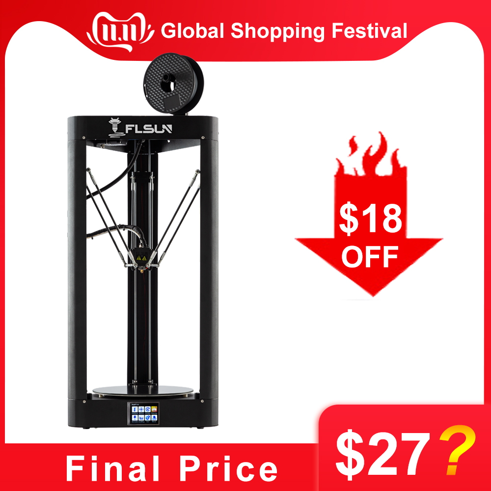 FLSUN QQ S 2019 High speed Delta 3D Printer, Large Plus Size 255*360mm kossel 3d Printer Upgrade Auto leveling touch screen-in 3D Printers from Computer & Office