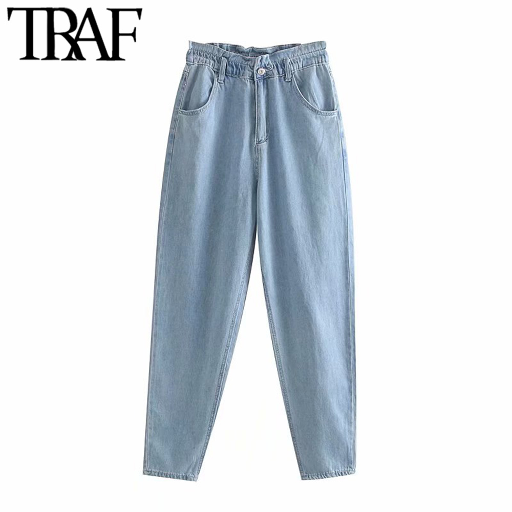 TRAF Women High Elastic Waist Paperbag Jeans Vintage Fashion Zippy Fly Side Pockets Streetwear Ankle Denim Pants Chic Jean Femme