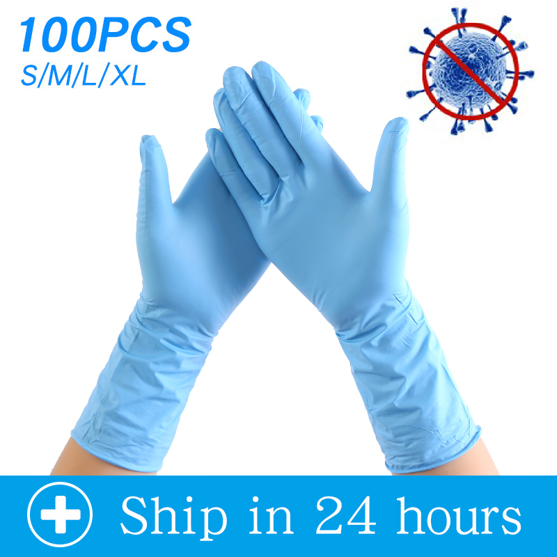 Anti Infection Disposable Nitrile Gloves 100pcs/lot Food Grade Waterproof Allergy Free Disposable Work Safety Gloves Box Packed