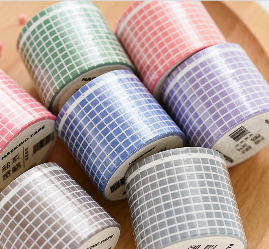 Grid Washi Tape Japanese Paper DIY Planner Masking Tape Adhesive Tapes Stickers Decorative Stationery Tapes Scrapbooking Sticker