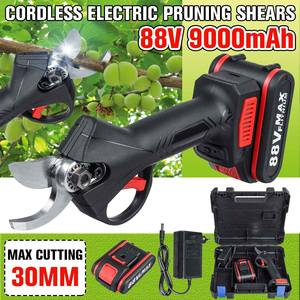 88V 9000mAh Cordless Pruner Lithium-ion Pruning Shear Fruit Tree Bonsai Pruning Electric Tree Branches Cutter Landscaping W/Box