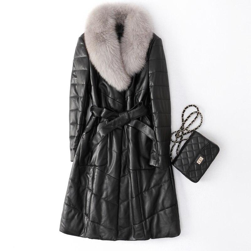 Real Genuine Leather Jacket Autumn Winter Coat Women Clothes 2020 Korean Vintage Fox Fur Collar 100% Sheepskin Down Coat ZT4513