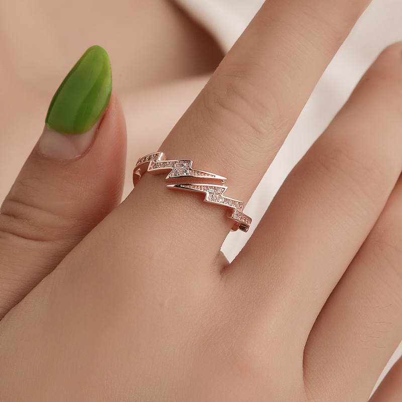 1 PC New Fashion irregular lightning Shape Rose gold Color Rings Women Rhinestone Opening Jewelry