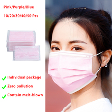 Purple Pink Disposable Face Masks 3 Layers Women Facemask Contain Meltblown Sterile Individual Package 10/20/30/40/50/100 Pcs