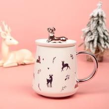 Необычный подарок, канцелярские товары, керамическая чашка с крышкой, кофейная чашка, Офисная кружка с милым оленем, корейские новогодние и рождественские подарки