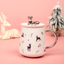 Never Christmas Stationery Gift Stationery Ceramic Cup with Lid Coffee Cup Office Mug Cute Deer Korean New Year Christmas Gifts