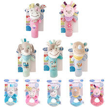 baby toys plush soft cute cartoon animal educational rattles musical dog Cattle Hedgehog rhinoceros hand bell Grab newborn