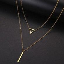 Ожерелье DOTIFI для женщин, двойная подвеска, полый треугольник и палочка, кулон из нержавеющей стали, креативные ювелирные изделия