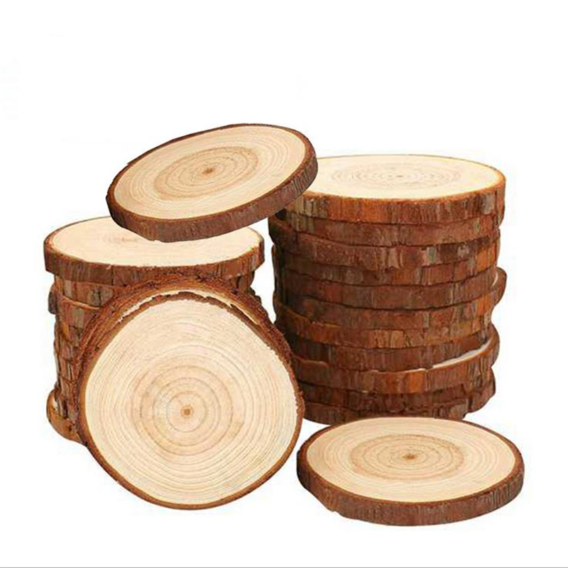 3-20cm Thick Natural Pine Round Unfinished Wood Slices Circles With Tree Bark Log Discs DIY Crafts Wedding Party Painting Decor