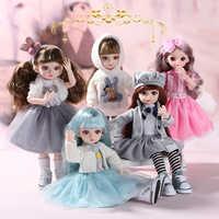 Muñecas de vinilo de 30CM BJD para niña, cuerpo rizado, pelo liso, muñecas BJD, vestido de princesa, maquillaje, 15 articulaciones móviles, regalo de cumpleaños