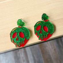 Super legal cabeça do crânio vermelho verde bad apple acrílico brincos para mulher exagerada glitter em pó punk balançar brincos brincos