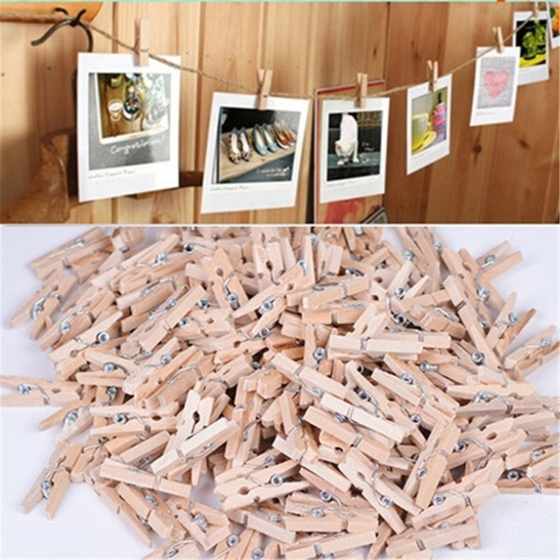50pcs Hot Sale Mini Natural Wooden Clip Clothes Photo Paper Peg Pin Clothespin Craft Clips School Office Stationery 25MM