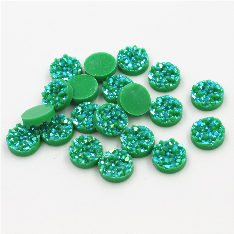 New Fashion 40pcs 8mm 10mm 12mm Green AB Colors Natural Ore Style Flat Back Resin Cabochons For Bracelet Earrings Accessories