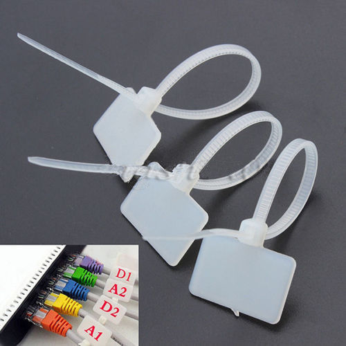 100 Pcs Zip Ties Write On Ethernet RJ45 RJ12 Wire Power Cable Label Mark Tags 10cm Tag Zip Tie Marker