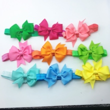 20pcs/lot Grosgrain Ribbon Bow Flower Headbands Solid Color Girl Elastic Hair Bands Kids Tie Accessories