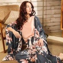 Ladies Floral Printed Deep Grey Elegant Sleepwear Women Wide Sleeve Loose 4Pcs Pajamas Set Soft Homewear Casual Wear For Spring