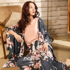 Image 1 - Ladies Floral Printed Deep Grey Elegant Sleepwear Women Wide Sleeve Loose 4Pcs Pajamas Set Soft Homewear Casual Wear For Spring