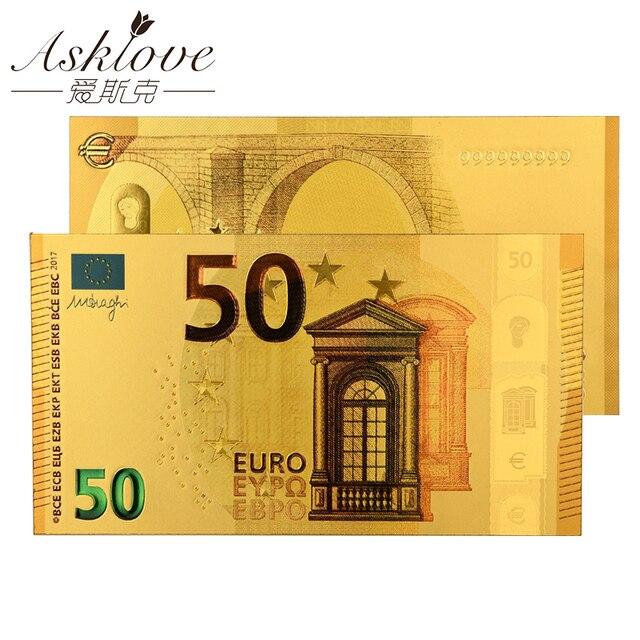 10pcs EUR 골드 지폐 골드 호 일 돈 24K 골드 가짜 종이 돈 컬렉션 기념품 5 10 20 50 유로 지폐 세트 샘플