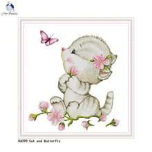 Набор для вышивки крестиком «сделай сам» картина «Кот и бабочка»