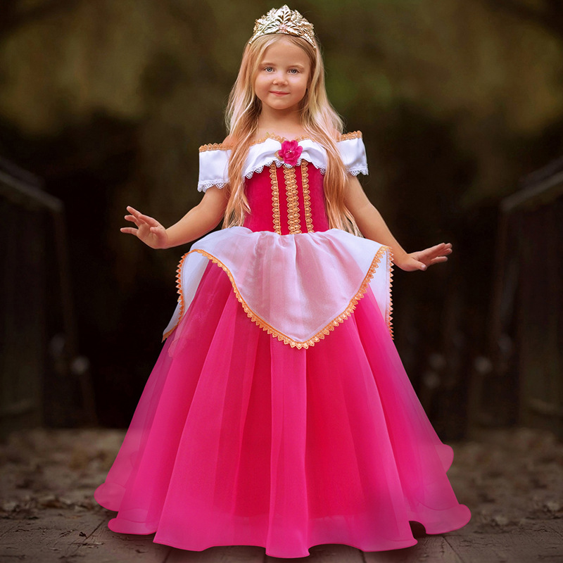 H5188e2f80a094c6a9f8ad4e0fcea544eZ Fancy Girl Princess Dresses Sleeping Beauty Jasmine Rapunzel Belle Ariel Cosplay Costume Elsa Anna Sofia Children Party Clothes