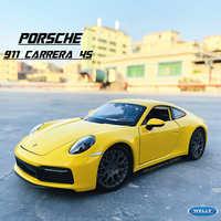 1:24 Porsche 911 Carrera 4S (992) auto deportivo amarillo coche de simulación de aleación de metal modelo adornos para manualidades de herramienta de juguete de regalo