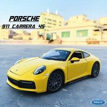 1:24 Porsche 911 Carrera 4S (992) sportwagen Geel Simulatie Legering Model Auto Ambachten Decoratie Collection Toy Tool Gift