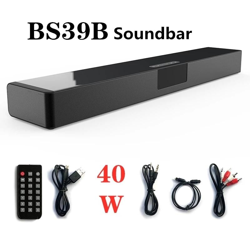 40W Big Power Soundbar Bluetooth Speaker Multifunctional FM Home Theater Music Center LED Display for TV PC Computer subwoofer