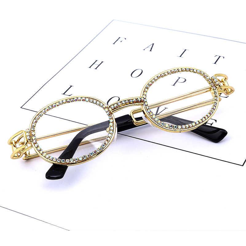 Colorful Kecil Bulat Berlian Imitasi Kacamata Hitam Wanita Steampunk Berlian Matahari Kacamata Klasik Kacamata Pria Lensa Vintage Warna