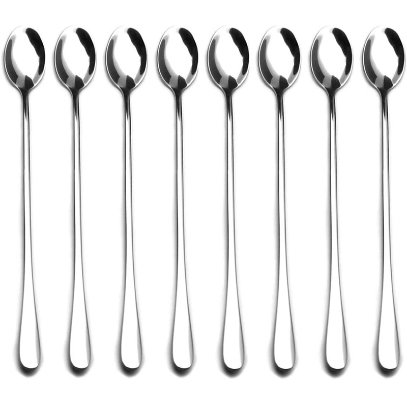 9-Inch Long Handle Stirring Spoon,Soup Spoon, Ice Tea Coffee Spoon, Stainless Steel Cocktail Mixing Spoons - Set of 8
