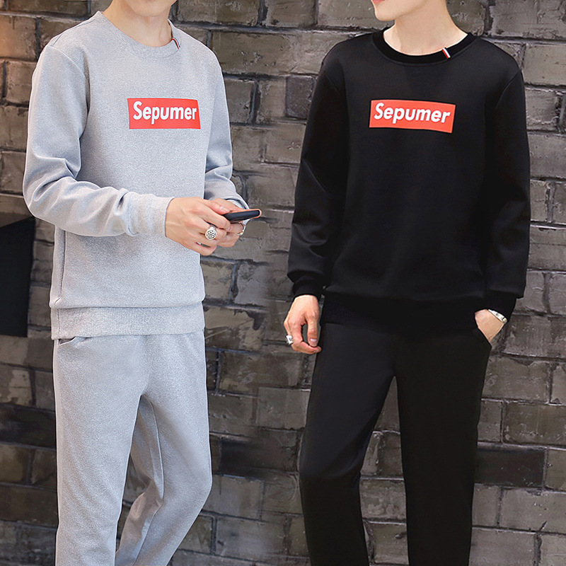 Men'S Wear Autumn 2018 New Style Fashion Man-Style Set Couples Long-sleeved T-shirt A Set Of Casual Wei Clothes Coat