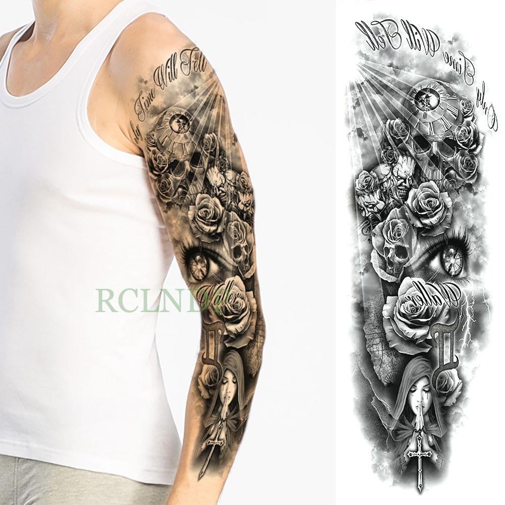 Waterproof Temporary Tattoo Sticker eye clock bird Pagoda full arm large size fake tatto flash tatoo sleeve tato for men women 5