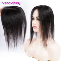 14'' Human Hair Topper Breathable 10*13 Silk Base Hair Wig for Women with Clip In Hair Toupee Natural Remy Hair Piece Hairpiece