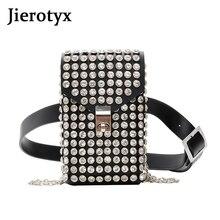 JIEROTYX Luxury Full Rhinestone Women Phone Waist Bags Detachable PU Leather Belt Shoe chain Crossbody Shoulder Bag Pack