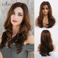 EASIHAIR Brown Lace Front Synthetic Wigs with Baby Hair Wavy Lace Wigs for Women High Density Natural Hair Cosplay Wigs