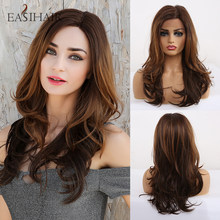 EASIHAIR-pelucas con encaje frontal sintético para mujer, pelucas de encaje ondulado con minimechones, Natural, de alta densidad, para Cosplay del pelo