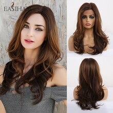EASIHAIR kahverengi dantel ön sentetik peruk bebek saç ile dalgalı dantel peruk kadınlar için yüksek yoğunluklu doğal saç Cosplay peruk