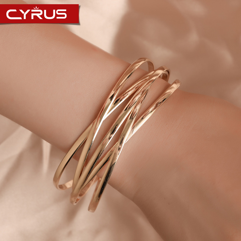 Retro <font><b>Open</b></font> Metal Cross <font><b>Bracelets</b></font> for Women Multi-layer Bangle Simple Statement Pulseras Mujer Jewelry Accessories Femme 2019 image