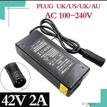42V 2A e bike chargeur de batterie au Lithium pour 36V 10S vélo électrique batterie au lithium XLR prise entrée 100 240V livraison gratuite