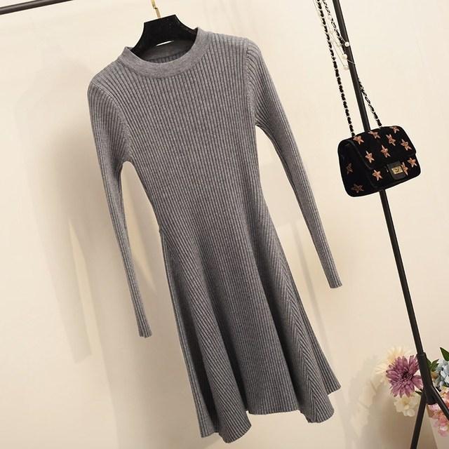 Women Long Sleeve Sweater Mini Knitted Dresses 4