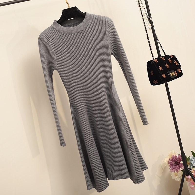 Women Long Sleeve Sweater Dress Women s Irregular Hem Casual Autumn Winter Dress Women O neck