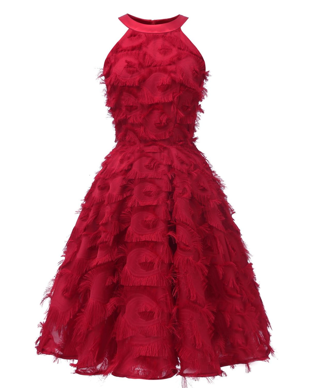 BacklakeGirls Sexy Halter Neck Feather Tassels Applique Evening Party Dress Short A-line Woman Red Cocktail Dress Vestido Fiesta