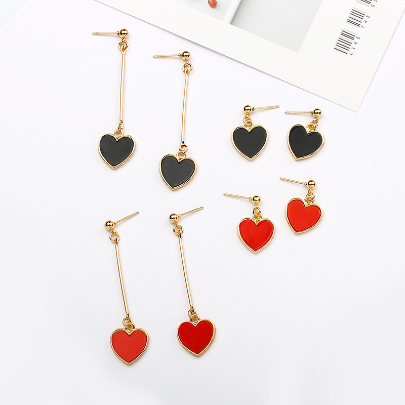 Japanese And Korean Simple Temperament Girls Love Long And Short Creative Heart-shaped Earrings Lovely Earrings Wholesale