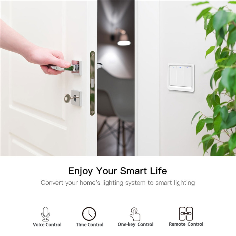 Image 2 - Wifi Smart Push Button Switch EU Standard 1/2/3 Gang Waterproof Remote Control For Led Light Smart Switch Alexa Google HomeSwitches   -
