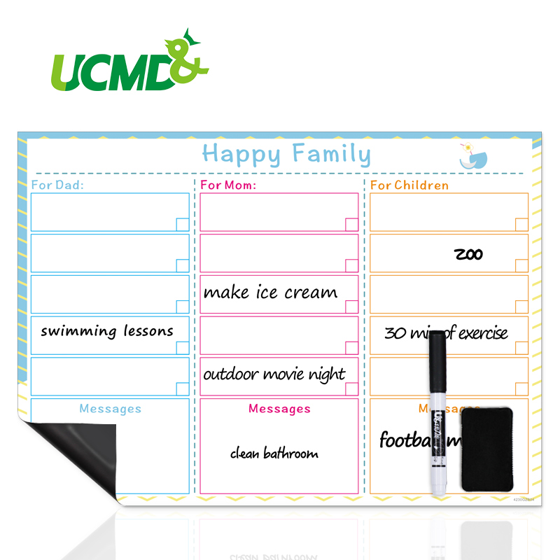Magnetic Weekly Planner Whiteboard Fridge Cupboard Office Calendar Schedule Sticker Happy Family Plan Sheet List Message Board