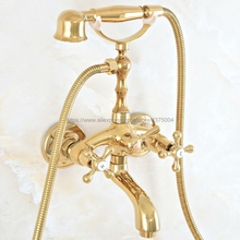 Shower Faucet Bathtub Mixer Mounted Cross-Handle Golden Deck Dual Brass Nna808 Tap